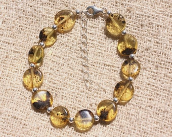 Bracelet 925 sterling silver and Baltic amber - honey and black 9-10mm beads