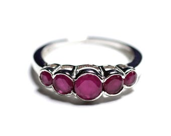 N122 - Ring 925 sterling silver and stone - Ruby round shades 2.5 - 4. 5 mm