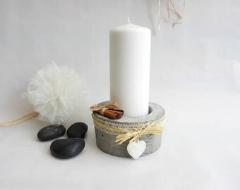 Raw concrete candle holder * lace and raffia country chic style