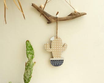 Hanging deco cactus wood-gray and white