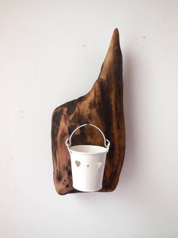 photophore blanc sur bois flott d coration murale style. Black Bedroom Furniture Sets. Home Design Ideas