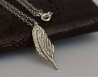 Silver Feather Necklace - Silver Feather Pendant - Feather Necklace - Feather - Solid Silver