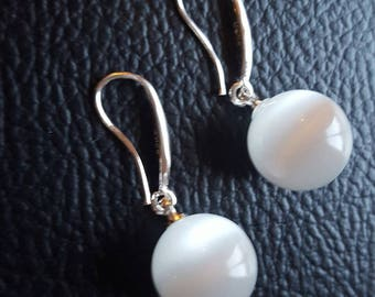 Earrings 925 sterling silver and genuine Moon stone + certificate of authenticity