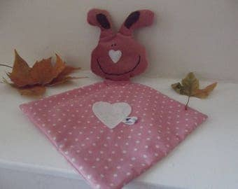 Pink rabbit cotton blanket has polka dots and velvet