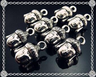 3 Tibetan silver Buddha head charms - 14mm