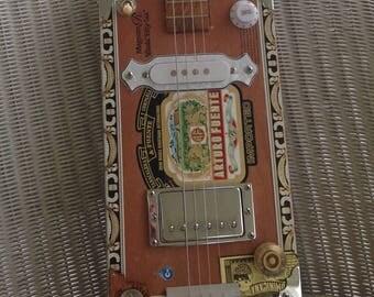 Handmade Electric Cigar Box Guitar- Arturo Fuente w/ Collectors Coin