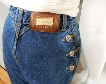 Mom Jeans/waist 26/ raw hem 90s jeans high waisted tapered leg  Lawman Jeans