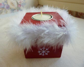 Candle red and white duvet - holiday decoration