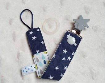 Reversible dummy/pacifier clip in blue cloth Navy stars and drops