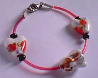 Bracelet - decorated porcelain dog and heart beads