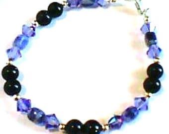 handmade Bracelet - Bead sodalite, blue goldstone - Crystal - Silver 925
