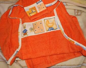 Orange large apron sponge to wipe baby