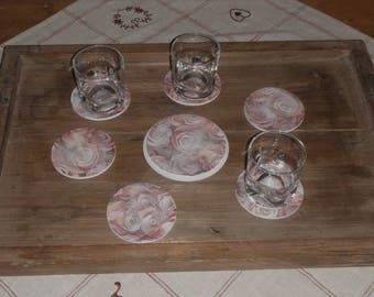Coaster set with its 6 coasters / Shabby chic style