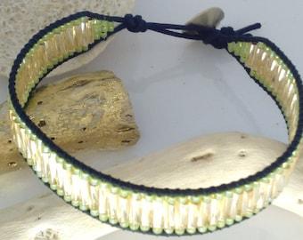 Bugle twist and swarovski button wrap bracelet