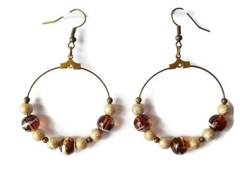 Shiny Golden beads and Brown Pearl Earrings