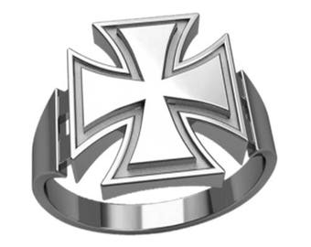 Knight's Cross of the Iron Cross Men Ring Sterling Solid Silver 925 SKU30129