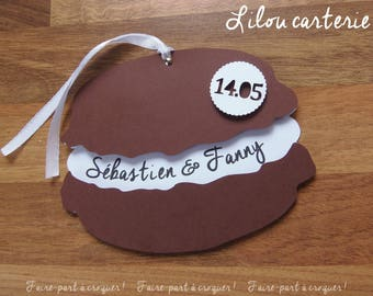 Shaped badge treats theme wedding invitation