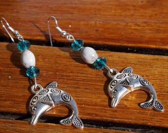 dolphins on job's tears and faceted glass bead earrings