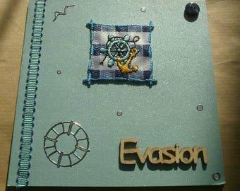 "folded square card, blue color, message ""escape"" + matching envelope"