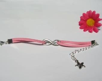 Pink suede infinity bracelet