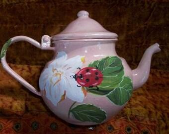 Vintage - paint on teapot: Ladybug
