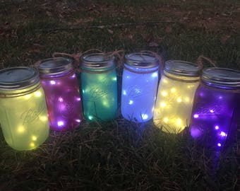 Frosted Mason Jar Lanterns ( Many Colors )