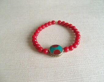 Yoga bracelet Tibetan bead and sea bamboo