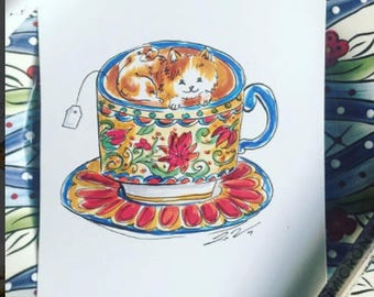 Spanish Catalonian Cat Teacup Printable Art from Lisa Viss Designs
