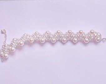 Bracelet Swarovski white pearls