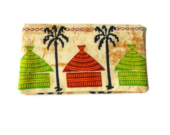 Door - checkbook / protects - checkbook yellow African fabric
