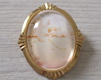 Brooch pendant two Angels - Vintage Victorian - Christmas gift - glass Cabochon