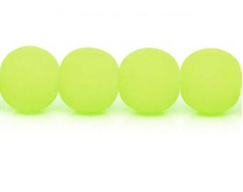 10 x neon yellow glass beads
