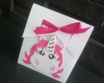 Box dragees or candy Unicorn birthday, baptism...