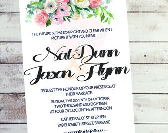 Printable dusk watercolour floral wedding menu wedding invitations suite watercolor wedding invites floral wedding invitation set
