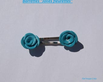 2 pretty and floral turquoise hair clips