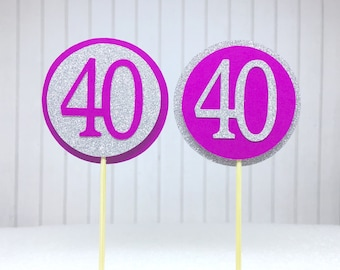 """40th Birthday Cupcake Toppers - Silver Glitter & Hot Pink """"40"""" - Set of 12 - Elegant Cake Cupcake Age Topper Picks Party Decorations"""