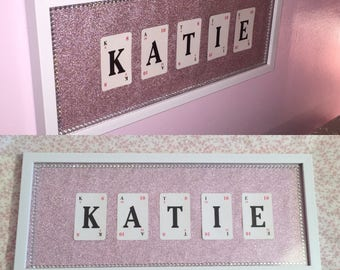 Personalised handmade playing card name frames