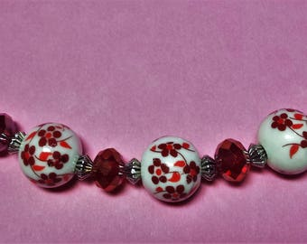 Porcelain and Red swarovski crystal wired necklace