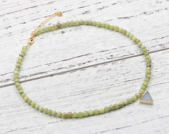 Peridot Beaded Choker Necklace With Small Druzy Charm For Bridesmaids Jewelry Party Gift Natural Gemstone Necklaces