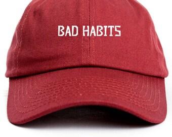 Bad Habits  Dad Hat Adjustable Baseball Cap New - Cardinal