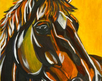 """Horse Portrait - """"Fawn"""" - Acrylic Painting 16x20"""