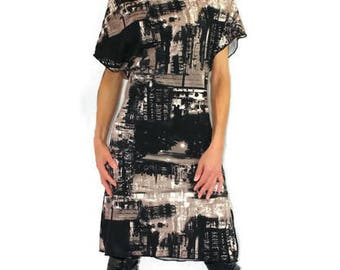 modern dress fabric printed in the city pleated on the neckline and short sleeves