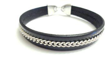 Silver plated chain and leather bracelet