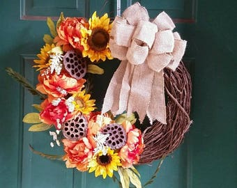 Sunflower and Burlap Bow Wreath- Fall Wreath *PRICE DROP*