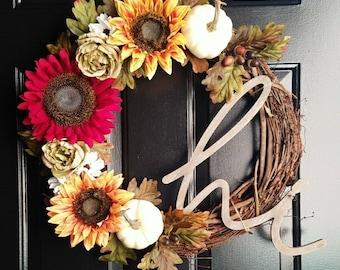 "Sunflower Fall Wreath-""Hi"" Wreath- Sunflower Wreath- Pumpkin Wreath- Autumn Wreath *PRICE DROP*"
