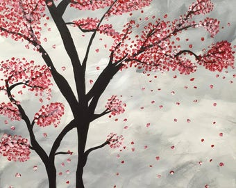 Cherry Blossom Acrylic Painting