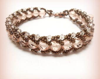 """Bracelet weaved Crystal beads and seed beads """"Rose copper sweetness!"""""""
