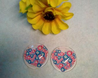 Set of 2 glass cabochons 25mm