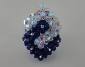 Ring 2 entwined squares cobalt blue and white Swarovski Crystal beads