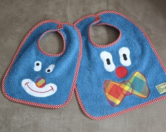 Set of two bibs theme blue clown